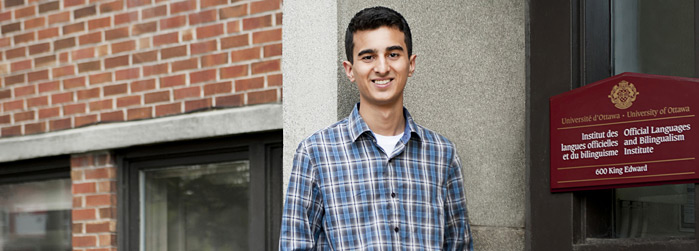 Baktash Waseil, a French immersion studies' student in Political Sciences and Common Law