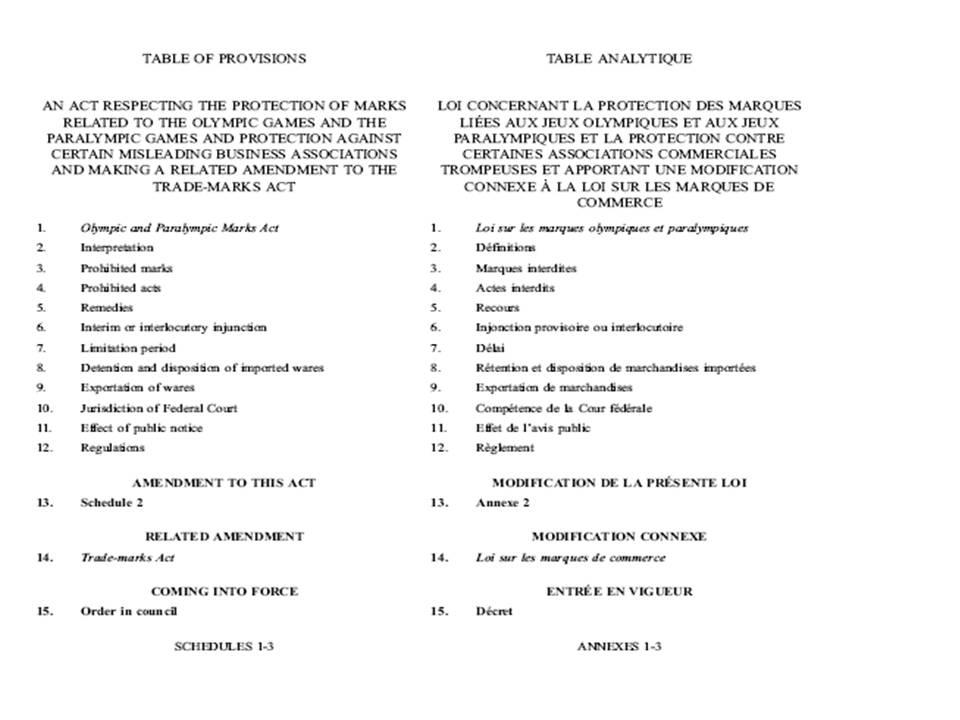 Recherche juridique la l gislation f d rale la structure d 39 un projet de loi - Exemple table des matieres ...